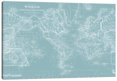 World Map on Aqua Canvas Art Print