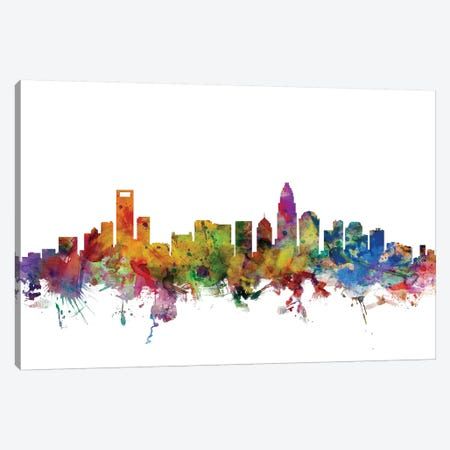 Charlotte, North Carolina Skyline 3-Piece Canvas #MTO1008} by Michael Tompsett Canvas Art