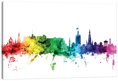 Rainbow Skyline Series: Edinburgh, Scotland, United Kingdom Canvas Art Print