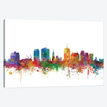 Christchurch, New Zealand Skyline Canvas Print #MTO1011} by Michael Tompsett Canvas Art Print