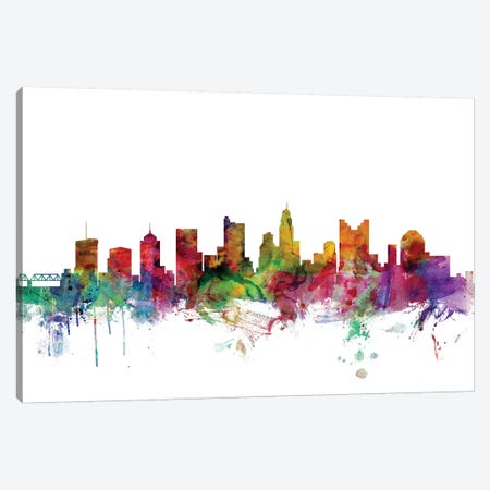 Columbus, Ohio Skyline Canvas Print #MTO1015} by Michael Tompsett Canvas Artwork