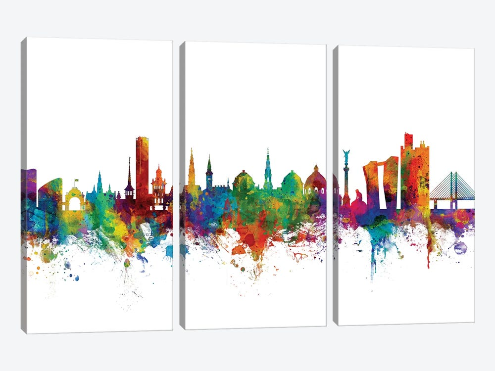 Copenhagen, Denmark Skyline by Michael Tompsett 3-piece Canvas Art