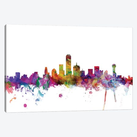 Dallas, Texas Skyline Canvas Print #MTO1019} by Michael Tompsett Canvas Print