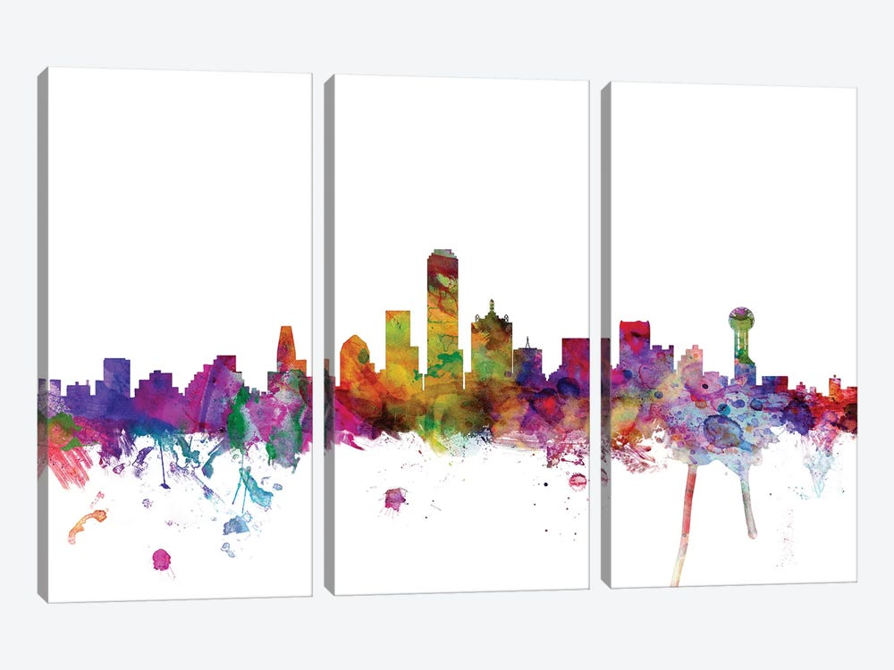 Dallas, Texas Skyline by Michael Tompsett 3-piece Canvas Print