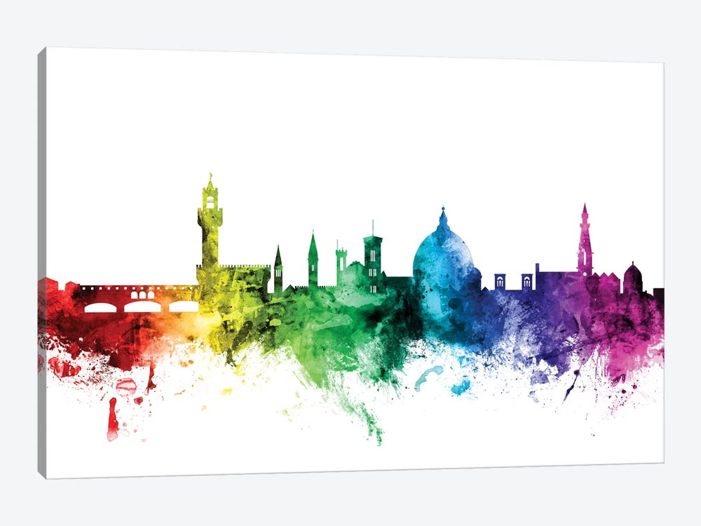 Rainbow Skyline Series: Florence, Italy by Michael Tompsett 1-piece Canvas Art Print