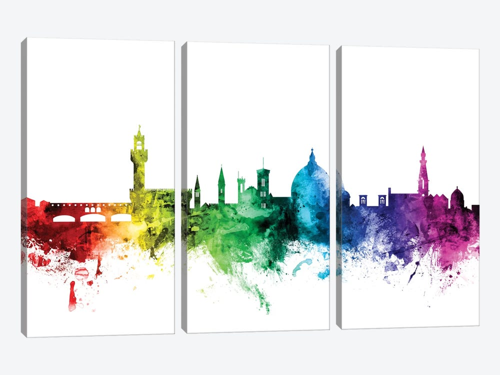 Rainbow Skyline Series: Florence, Italy by Michael Tompsett 3-piece Canvas Art Print