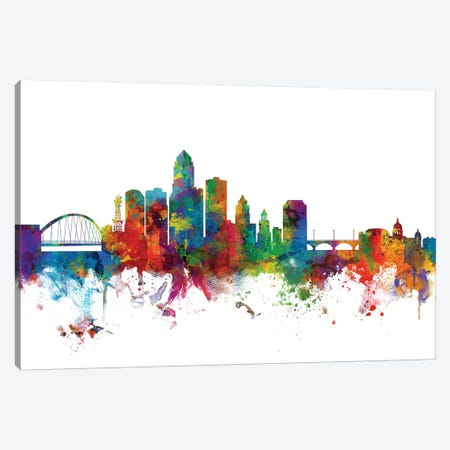 Des Moines, Iowa Skyline Canvas Print #MTO1023} by Michael Tompsett Canvas Art