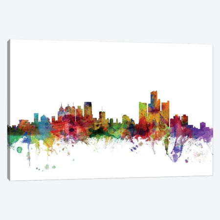 Detroit, Michigan Skyline Canvas Print #MTO1024} by Michael Tompsett Art Print