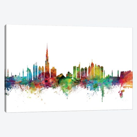 Dubai, UAE Skyline Canvas Print #MTO1027} by Michael Tompsett Art Print