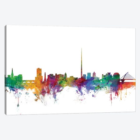 Dublin, Ireland Skyline Canvas Print #MTO1028} by Michael Tompsett Canvas Art