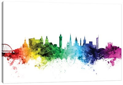 Rainbow Skyline Series: Glasgow, Scotland, United Kingdom Canvas Art Print