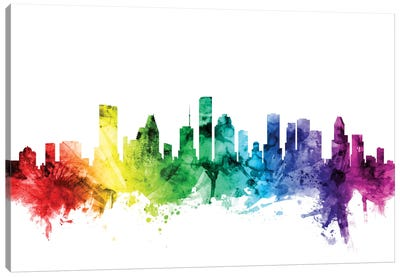 Rainbow Skyline Series: Houston, Texas, USA Canvas Art Print
