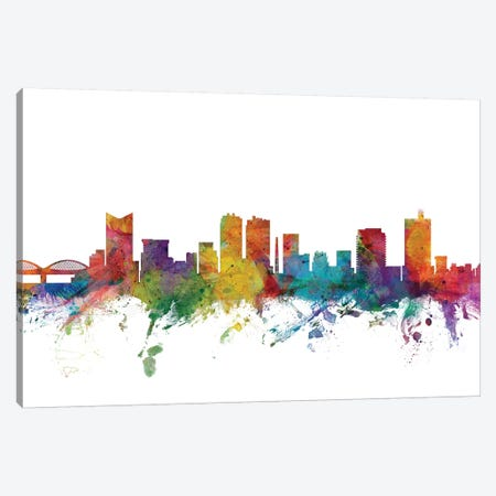 Fort, Worth Texas Skyline Canvas Print #MTO1041} by Michael Tompsett Canvas Wall Art