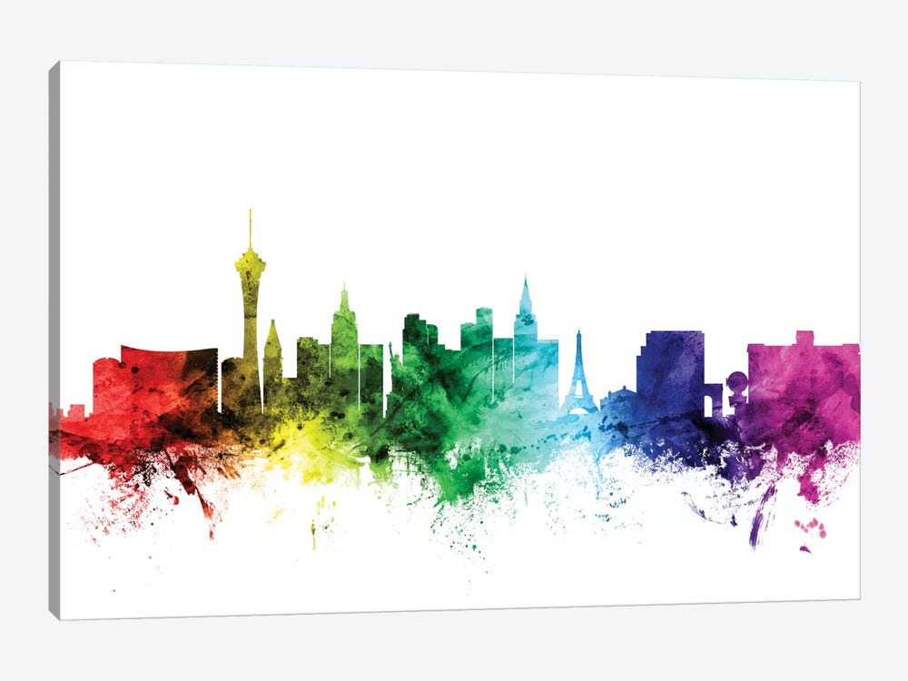Rainbow Skyline Series: Las Vegas, Nevada, USA 1-piece Canvas Wall Art