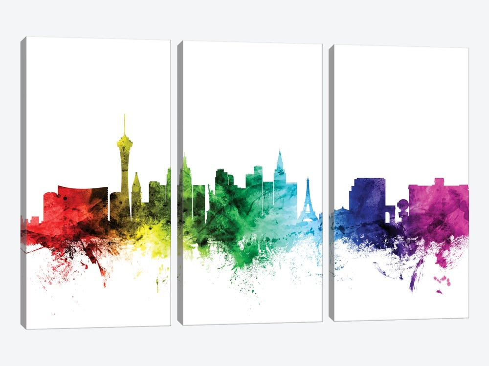 Rainbow Skyline Series: Las Vegas, Nevada, USA 3-piece Canvas Art
