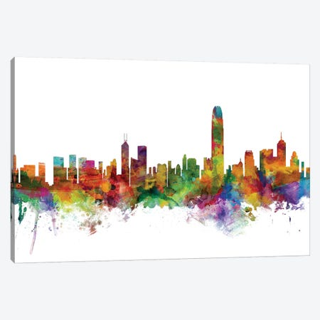 Hong Kong Skyline Canvas Print #MTO1059} by Michael Tompsett Canvas Art Print