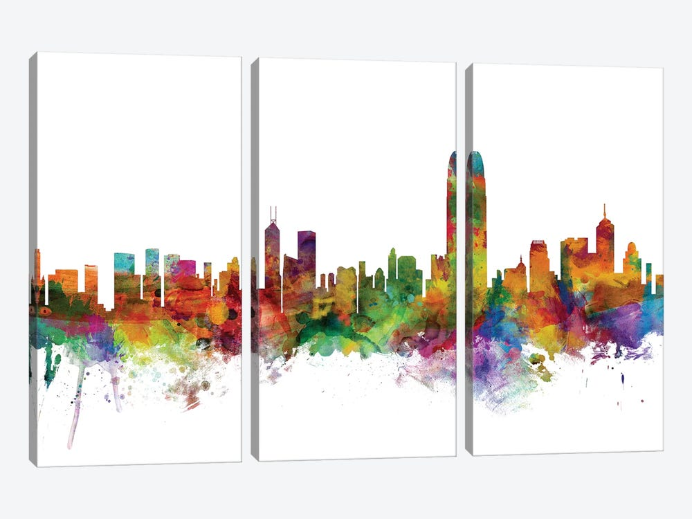 Hong Kong Skyline by Michael Tompsett 3-piece Canvas Print