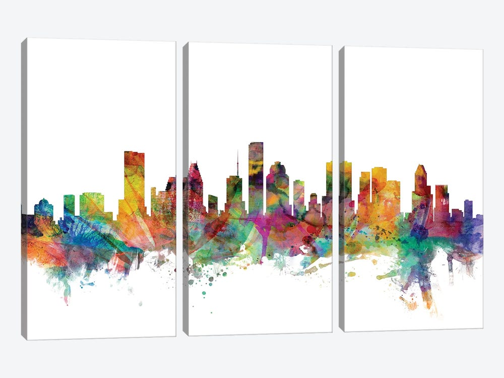 Houston, Texas Skyline by Michael Tompsett 3-piece Canvas Artwork