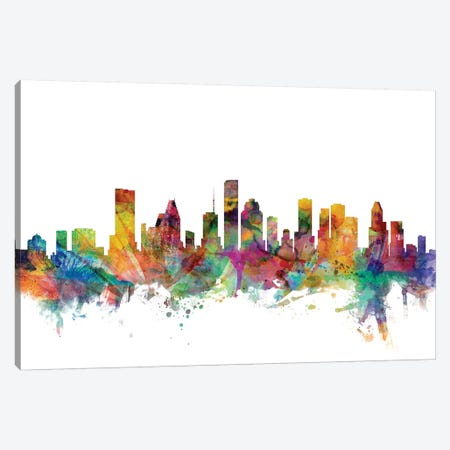 Houston, Texas Skyline Canvas Print #MTO1061} by Michael Tompsett Canvas Artwork