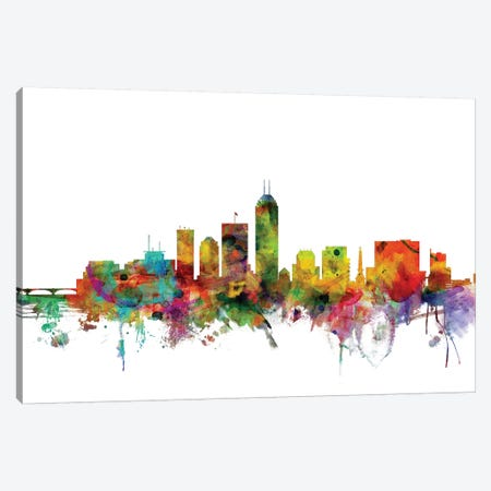 Indianapolis, Indiana Skyline 3-Piece Canvas #MTO1062} by Michael Tompsett Canvas Artwork