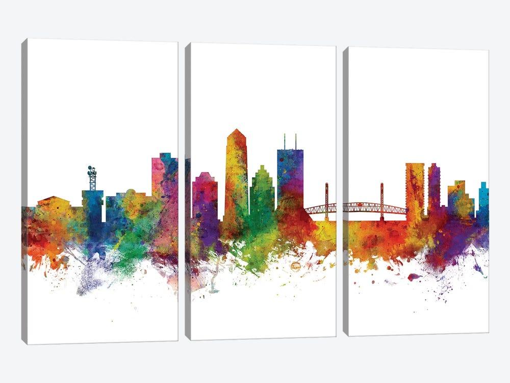 Jacksonville, Florida Skyline by Michael Tompsett 3-piece Canvas Print