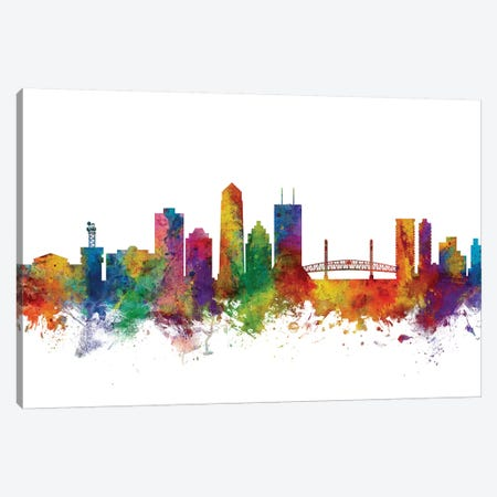 Jacksonville, Florida Skyline Canvas Print #MTO1066} by Michael Tompsett Canvas Print