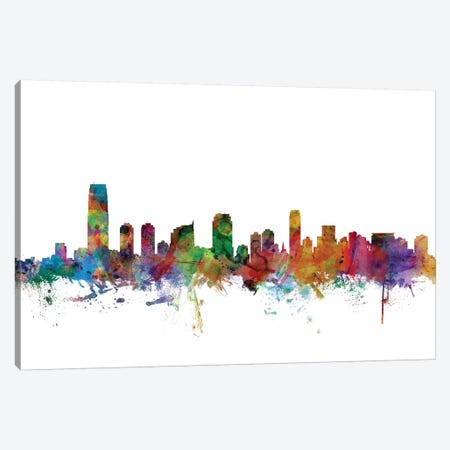 Jersey City, New Jersey Skyline Canvas Print #MTO1068} by Michael Tompsett Canvas Wall Art