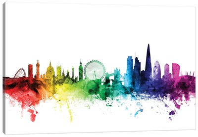 Rainbow Skyline Series: London, England, United Kingdom I Canvas Print #MTO106