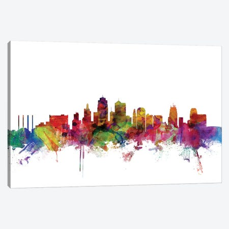 Kansas City, Missouri Skyline Canvas Print #MTO1070} by Michael Tompsett Canvas Art Print