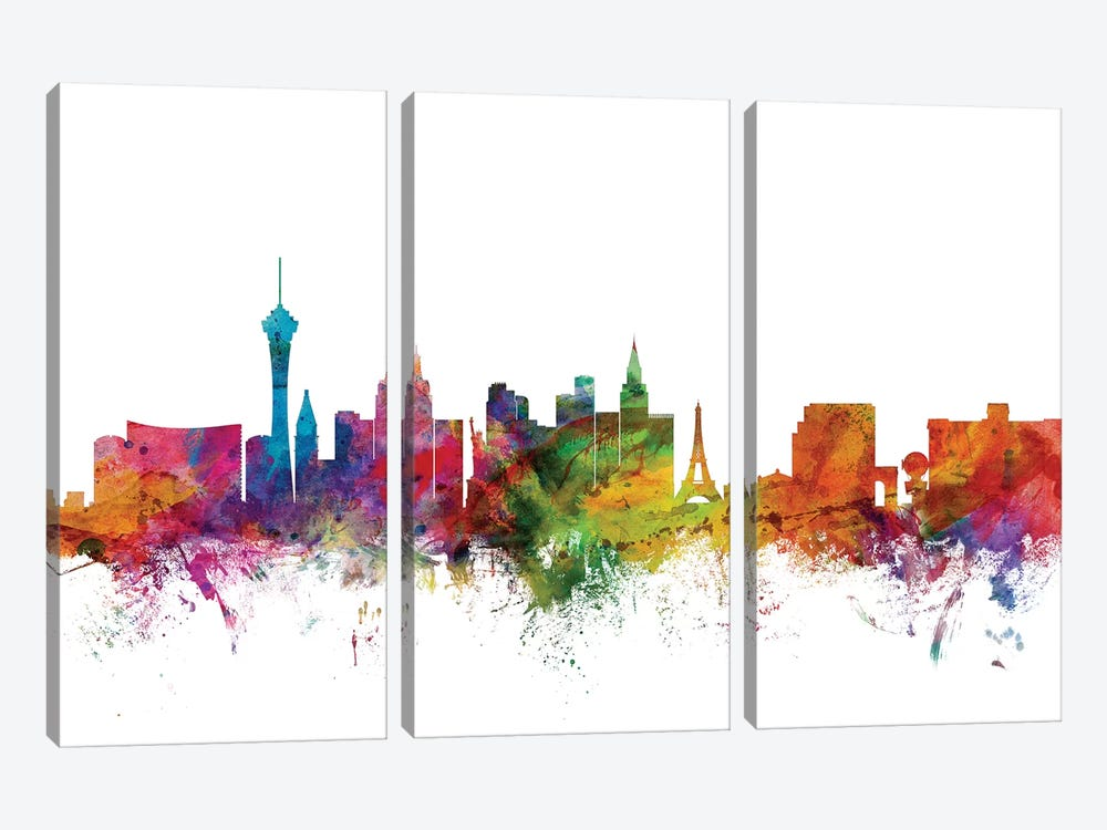 Las Vegas, Nevada Skyline by Michael Tompsett 3-piece Canvas Wall Art