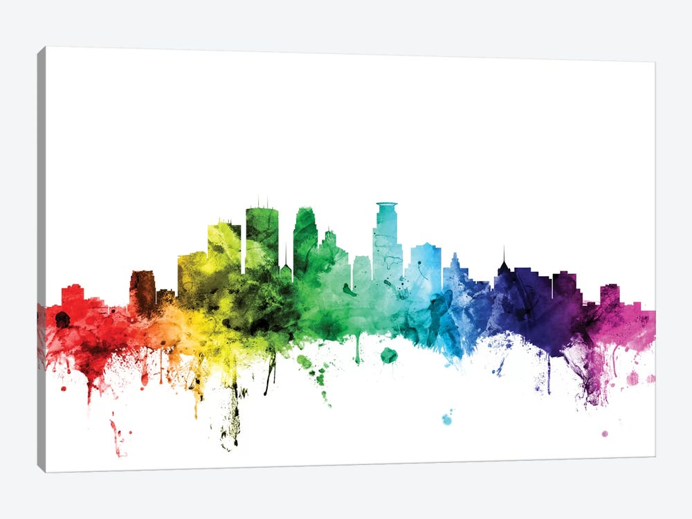 Rainbow Skyline Series: Minneapolis, Minnesota, USA by Michael Tompsett 1-piece Canvas Wall Art
