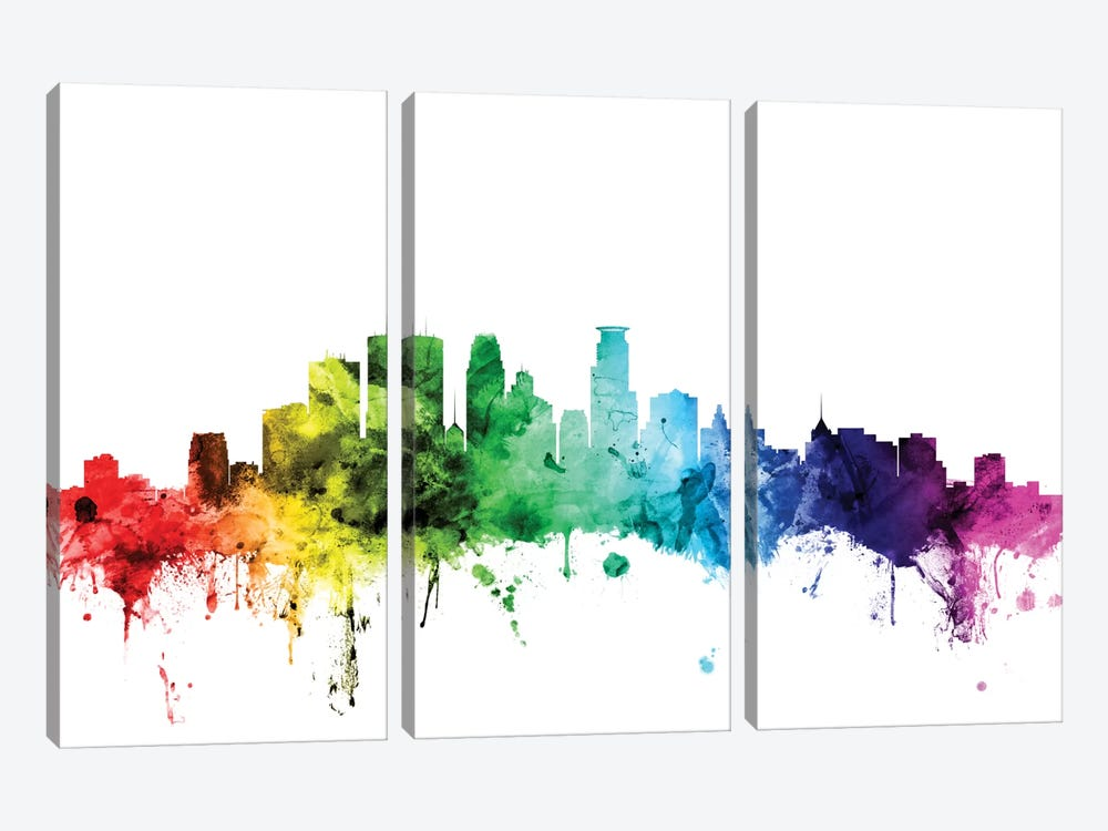 Rainbow Skyline Series: Minneapolis, Minnesota, USA by Michael Tompsett 3-piece Canvas Wall Art