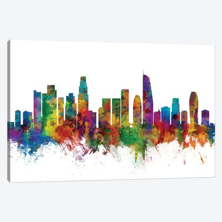 Los Angeles, California Skyline Canvas Print #MTO1092} by Michael Tompsett Canvas Art Print