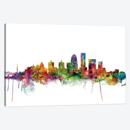 Louisville, Kentucky City Skyline Canvas Print #MTO1093} by Michael Tompsett Art Print