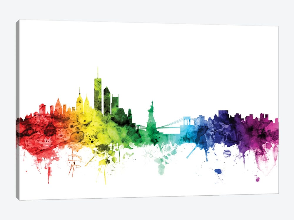 Rainbow Skyline Series: New York City, New York, USA I by Michael Tompsett 1-piece Canvas Art Print