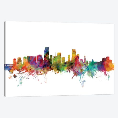 Miami, Florida Skyline Canvas Print #MTO1104} by Michael Tompsett Canvas Art