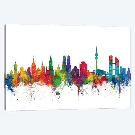 Munich, Germany Skyline Canvas Print #MTO1112} by Michael Tompsett Canvas Art