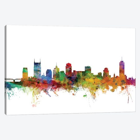 Nashville, Tennessee Skyline Canvas Print #MTO1113} by Michael Tompsett Canvas Art