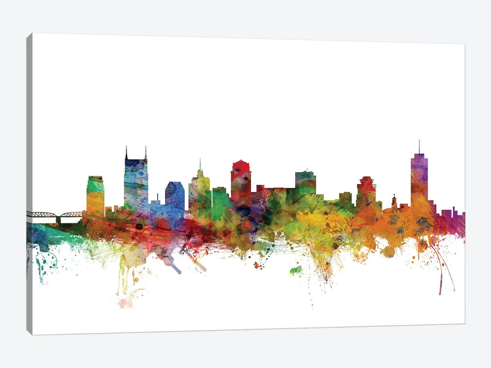Nashville, Tennessee Skyline by Michael Tompsett 1-piece Canvas Artwork