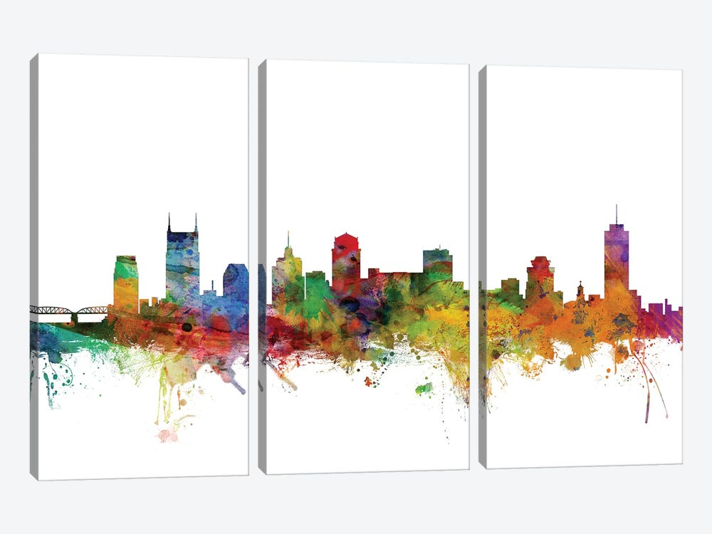 Nashville, Tennessee Skyline by Michael Tompsett 3-piece Canvas Wall Art