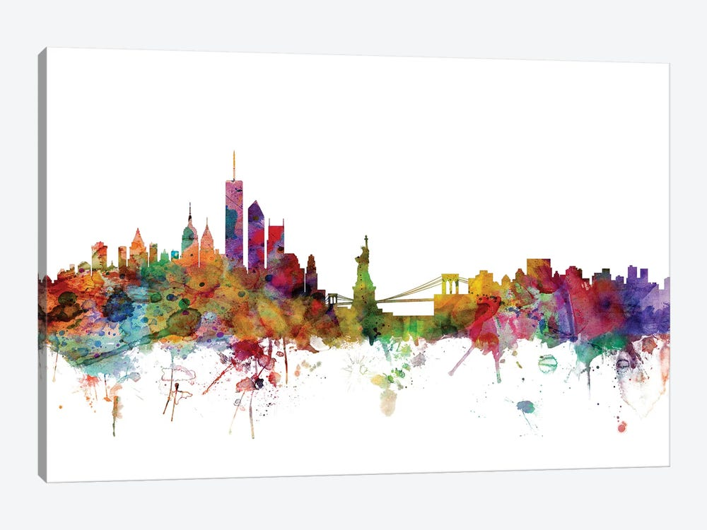 New York Skyline by Michael Tompsett 1-piece Canvas Wall Art
