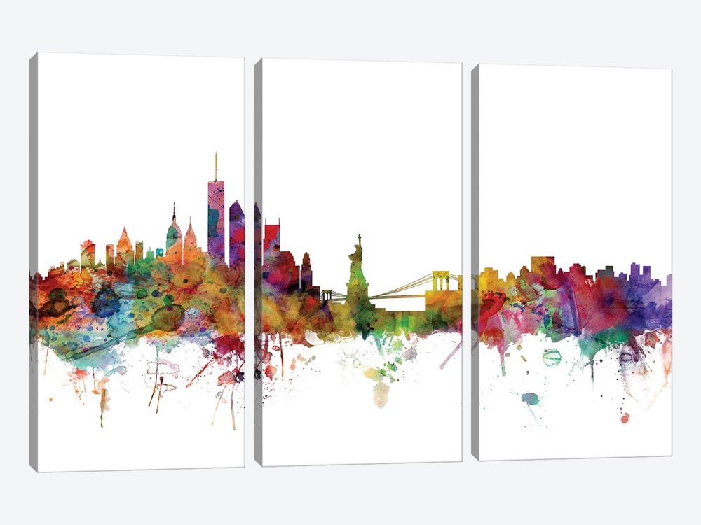 New York Skyline by Michael Tompsett 3-piece Canvas Art