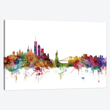 New York Skyline Canvas Print #MTO1117} by Michael Tompsett Canvas Art Print