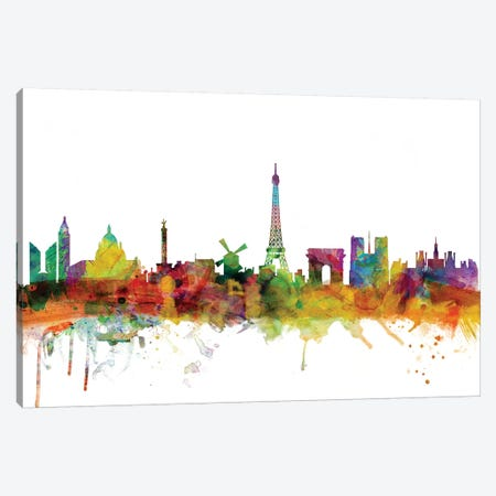 Paris, France Skyline Canvas Print #MTO1128} by Michael Tompsett Art Print