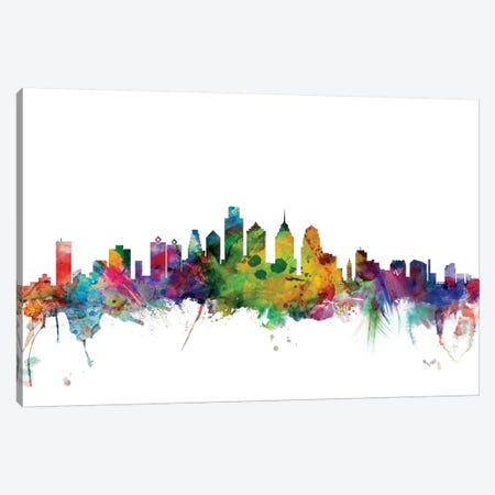 Philadelphia, Pennsylvania Skyline Canvas Print #MTO1130} by Michael Tompsett Canvas Art