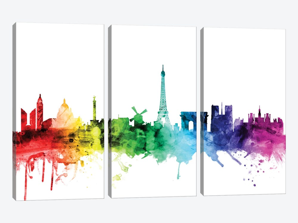 Paris, France by Michael Tompsett 3-piece Canvas Art