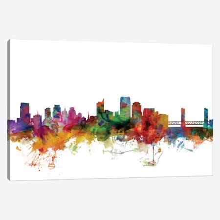Sacramento, California Skyline Canvas Print #MTO1148} by Michael Tompsett Art Print