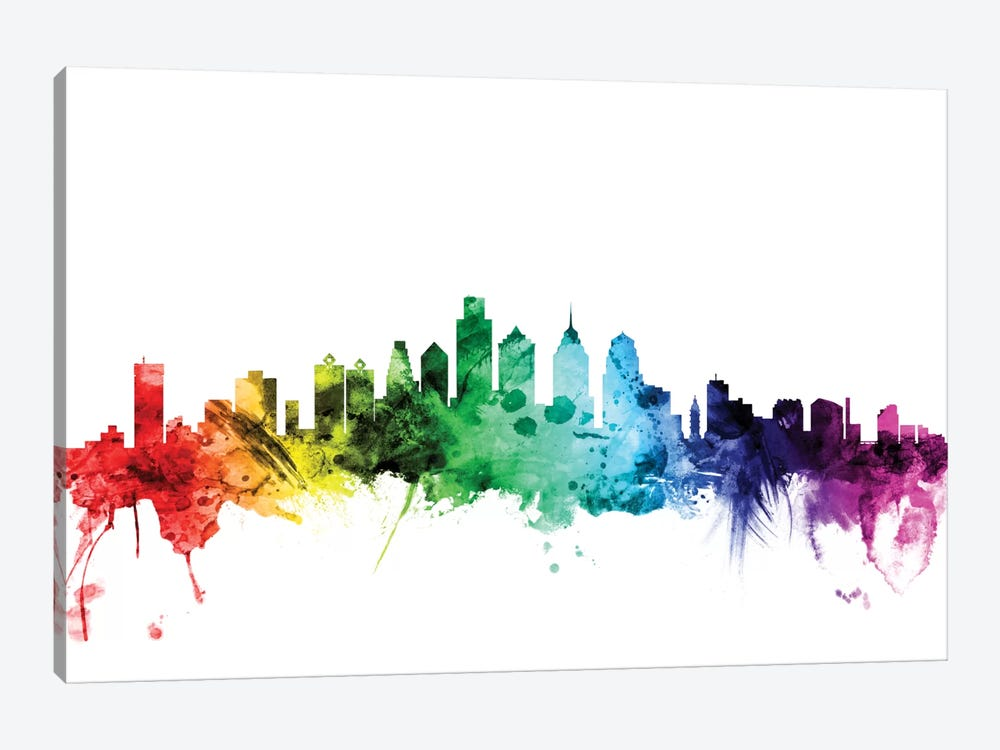Rainbow Skyline Series: Philadelphia, Pennsylvania, USA by Michael Tompsett 1-piece Canvas Print