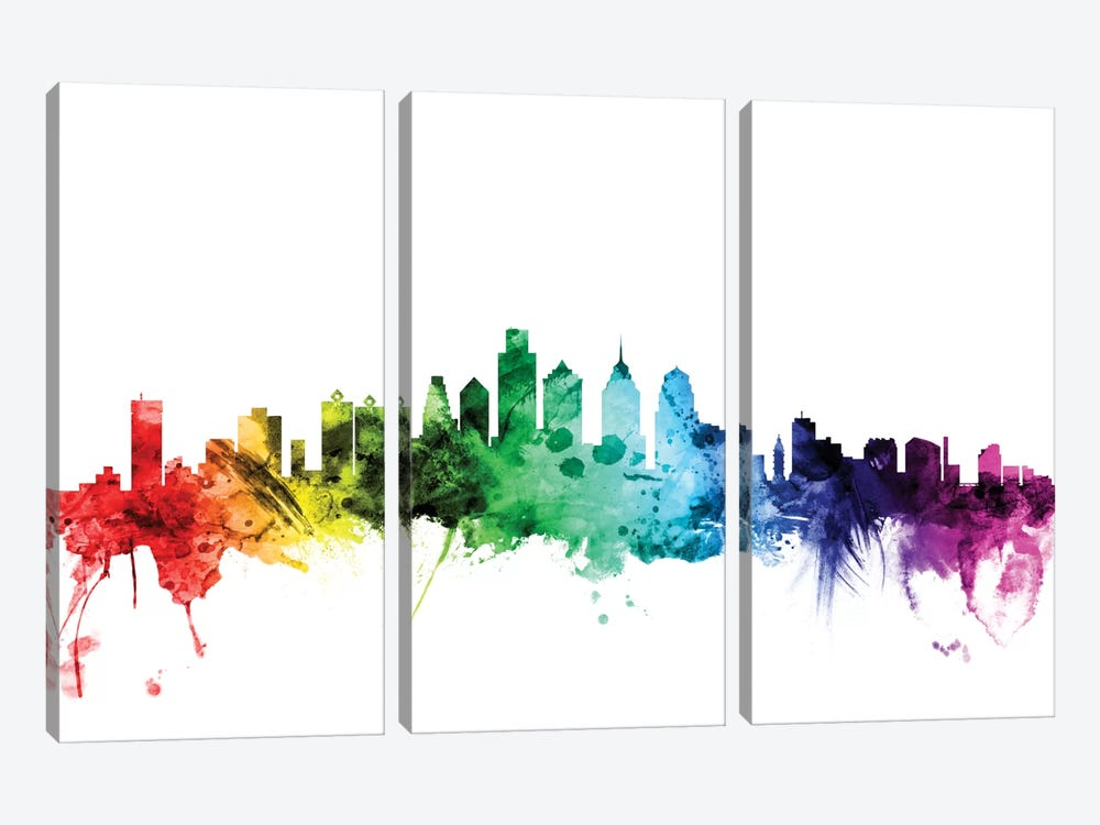 Rainbow Skyline Series: Philadelphia, Pennsylvania, USA by Michael Tompsett 3-piece Canvas Art Print