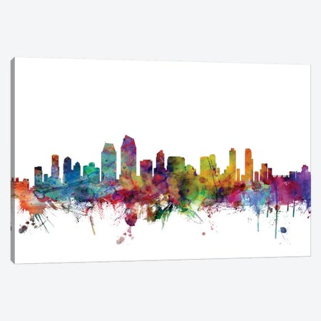 San Diego, California Skyline Canvas Print #MTO1152} by Michael Tompsett Canvas Wall Art